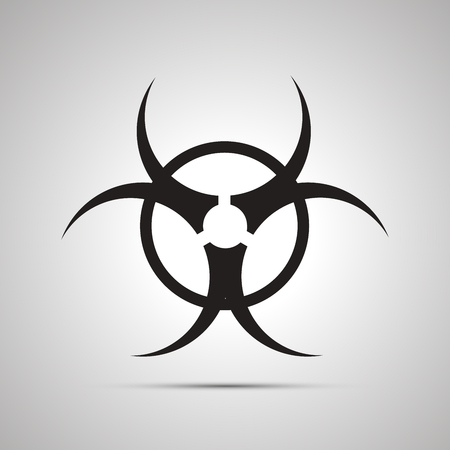 chemical weapons: Biohazard simple black icon with shadow on white