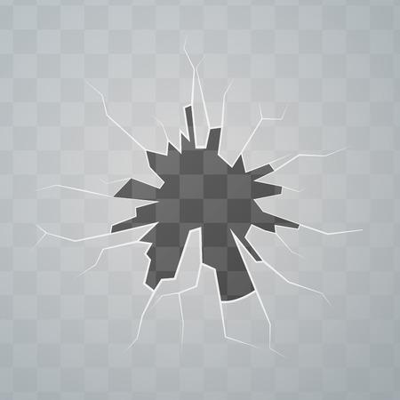 sabotage: Broken glass, cracks on transparent background Illustration