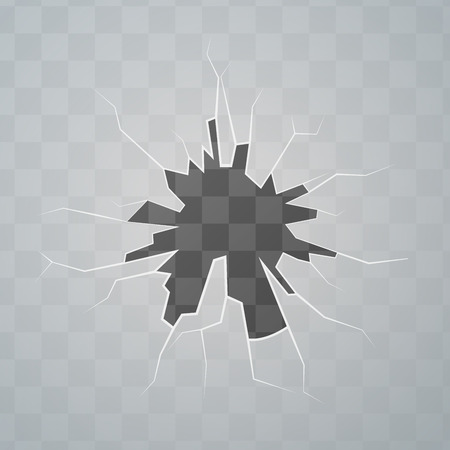 Broken glass, cracks on transparent background Illustration