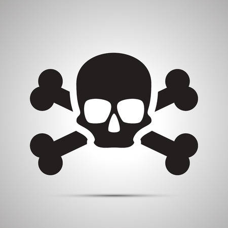health threat: Human skull with bones, simple black icon with shadow Illustration