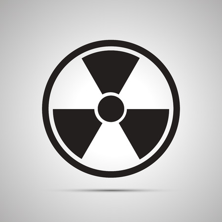 Radiation danger simple black icon with shadow Illustration