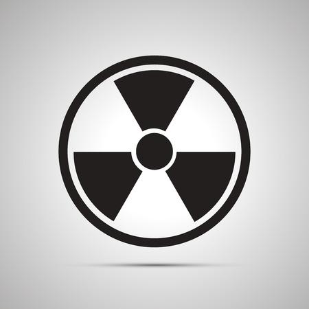 radium: Radiation danger simple black icon with shadow Illustration