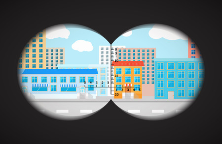 binoculars view: View from the binoculars with metrics on flat city buildings Illustration