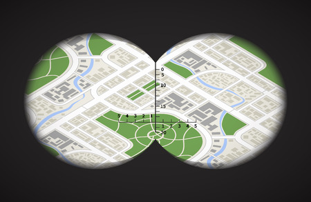 View from the binoculars with metrics on isometric city