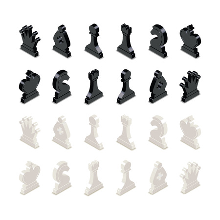 Black and white chess figures in isometric view isolated on white Illustration