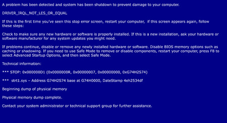 Blue screen of death, system crash report background