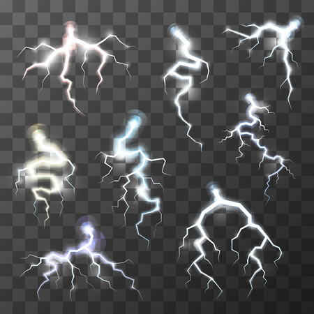zapping: Set of bright realistic thunderbolts on transparent background