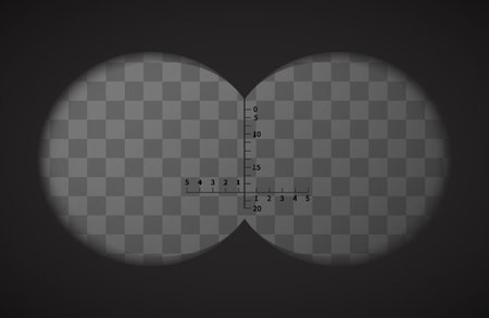 binoculars view: View from the binoculars with signs on transparent background