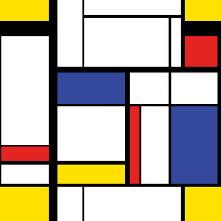 Abstract modern painting in mondrian style, seamless pattern Vectores