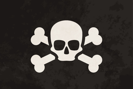 boned: Pirate flag with skull and crossbones on grunge texture Illustration