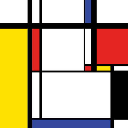 perpendicular: Abstract modern painting in mondrian style, square illustration