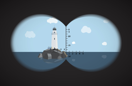 binoculars view: View from the binoculars with metrics on lighthouse on rocks in the sea