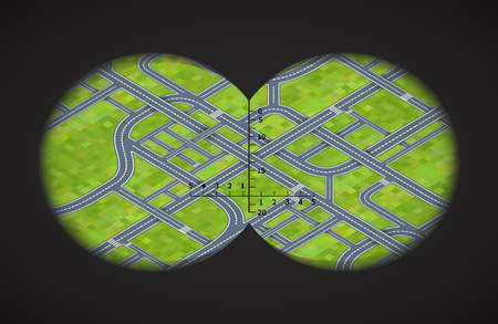 binoculars view: View from the binoculars with metrics on difficult road junctions in isometric view Illustration