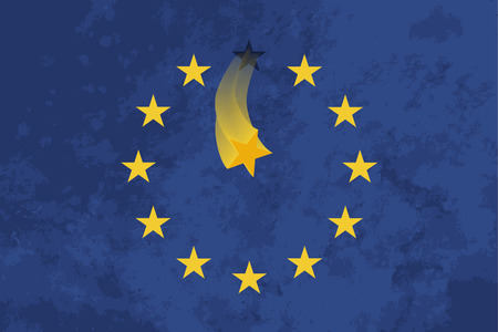 falling star: True proportions European Union flag with one falling star and grunge texture