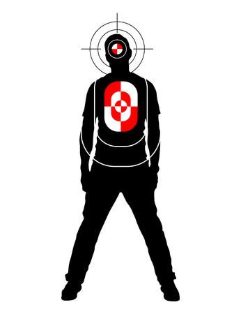 シルエット図形の位置を頭と体、白で隔離の人間で実際の撮影のためのターゲット