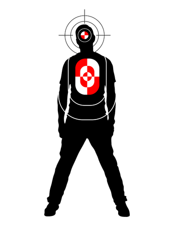 target practice: Target for shooting practice in man silhouette shape with marks on head and body, isolated on white