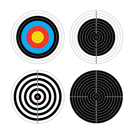 targets: Set of four different targets for shooting practice isolated on white