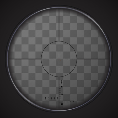 Realistic sniper sight with measurement marks on transparent background Illustration