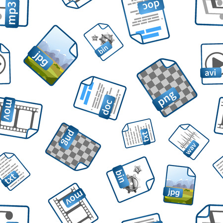 wav: Bright blue file icons with extensions on white, seamless pattern Illustration