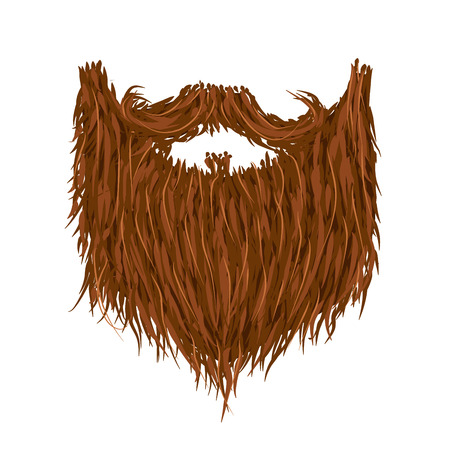 Realistic long brown beard isolated on white Illustration