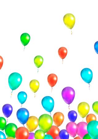 Una gran cantidad de globos que vuelan en color blanco