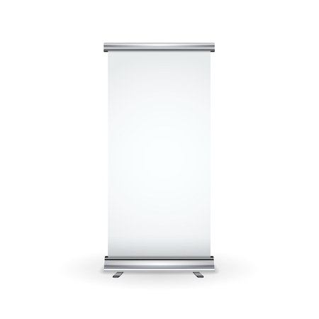 Blank realistic roll-up banner with shadow isolated on white