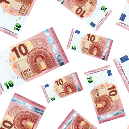 A lot of 10 euro banknotes on white, seamless pattern
