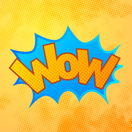 WOW comics sound effect with halftone pattern on yellow background Illustration