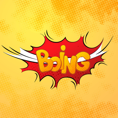 smack: Boing comics sound effect with halftone pattern on yellow background Illustration