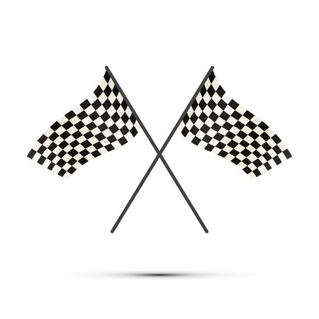 Two crossed finish flags with shadow on white Illustration