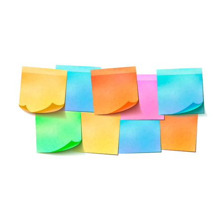 posit: Set of different colorful sticky notes on white