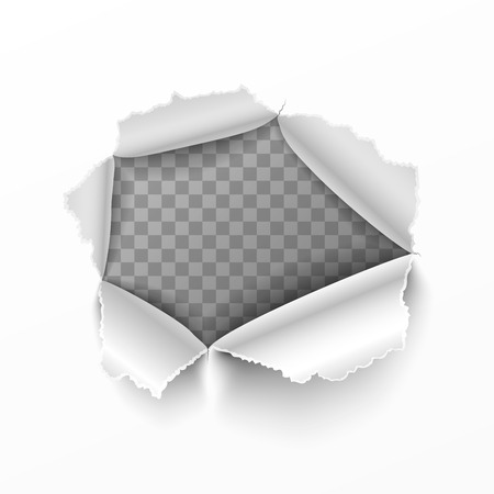 Torn hole in white sheet of paper
