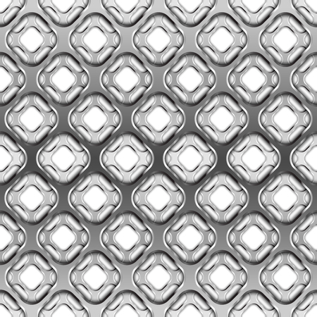 netting: Glossy metallic grid with shadow on white, seamless pattern Illustration