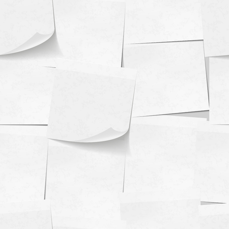 note pad: Realistic white sticky notes seamless pattern