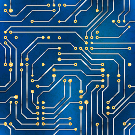 Computer microchip, seamless pattern on blue background. Vector Illustration