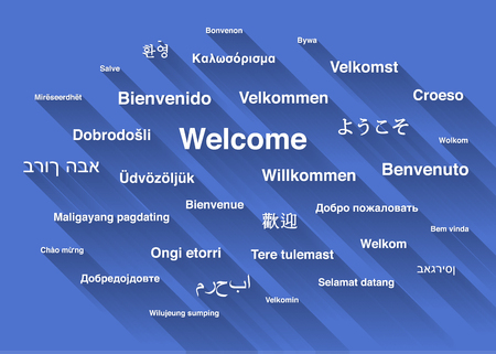 bienvenido: White welcome phrase in different languages