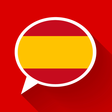 White speech bubble with Spain flag and long shadow on red background. Spanish language conceptual illustration.