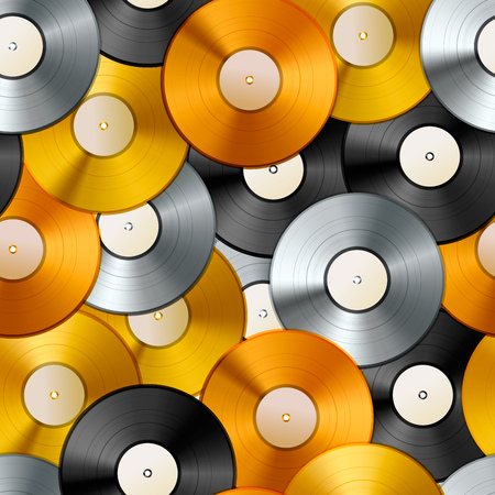 A lot of golden, platinum and bronze albums, vinyl discs seamless pattern