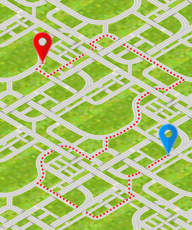 Detailed city map in isometric view with GPS pins and route.