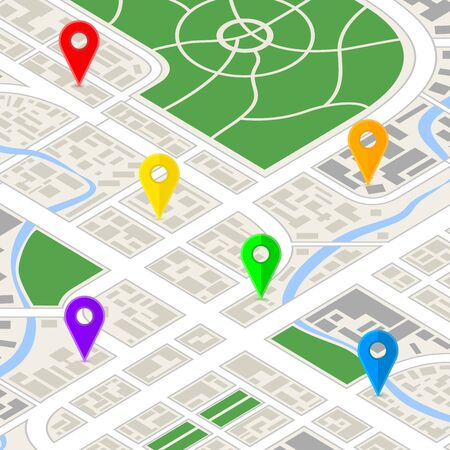 Detailed city map in isometric view with bright colourful GPS pins. Illustration