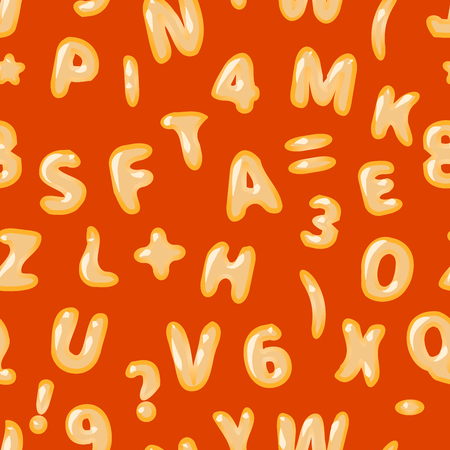 verbs: Alphabet soup latin letters on red seamless pattern