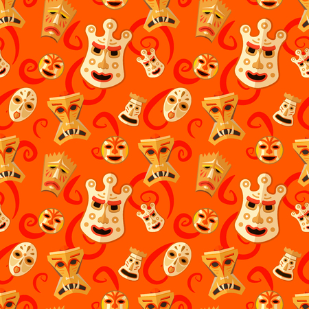tiki head: Different wooden voodoo masks on abstract red background seamless pattern