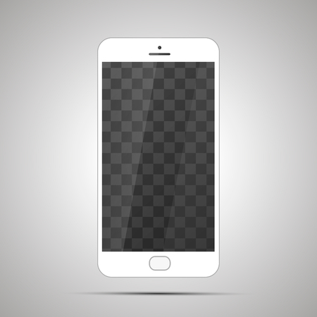 smart: Mock up of white realistic glossy smartphone with transparent place for screen on light background
