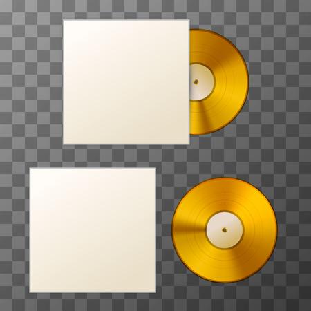 Mockup of blank golden album vinyl disc with cover on transparent background Illustration