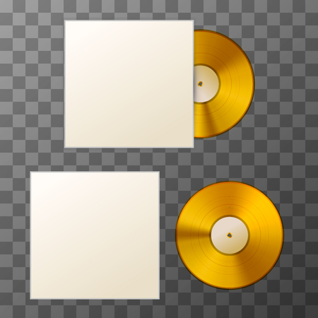 Mockup of blank golden album vinyl disc with cover on transparent background.