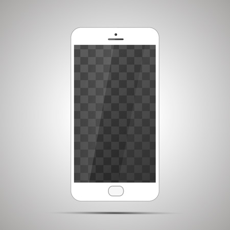 lcd: Mock up of white realistic glossy smartphone with transparent place for screen on light background.