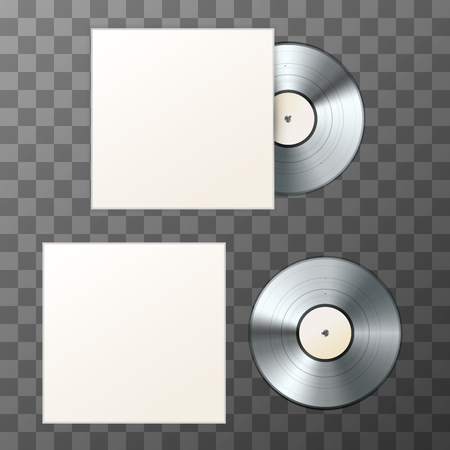 Mockup of blank platinum album vinyl disc with cover on transparent background.