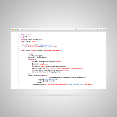 meta: Modern browser window with simple html code of web page on white background