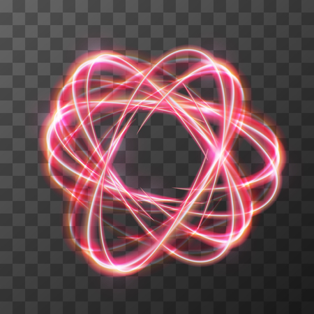 Neon blurry swirl, red trail effect at motion. Luminous rings on transparent background