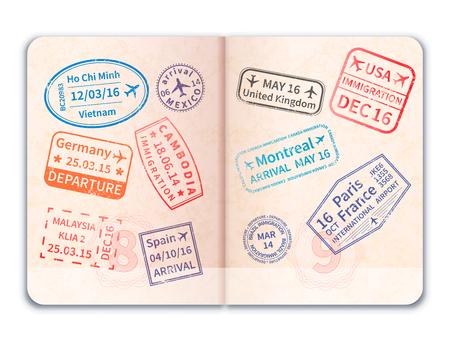 Pasaporte extranjero abierto realista con muchos sellos de inmigración Foto de archivo - 76945664